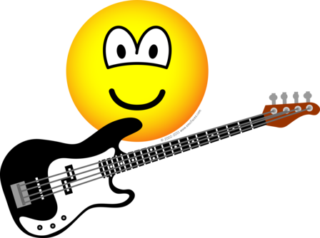 Bass playing emoticon
