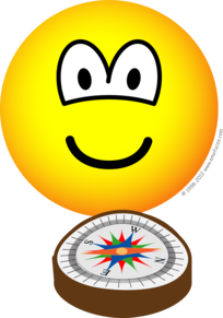 Compass navigating emoticon