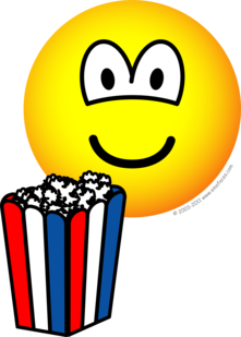 Popcorn eating emoticon