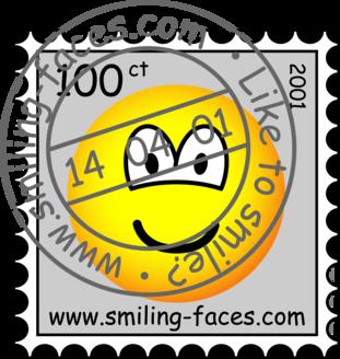 Stamped stamp emoticon