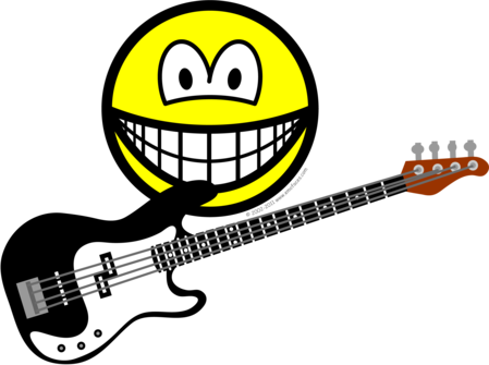 Bass playing smile