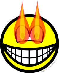 Flaming eyes smile