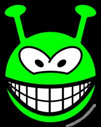 Green alien smile