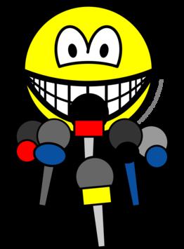 Press conference smile